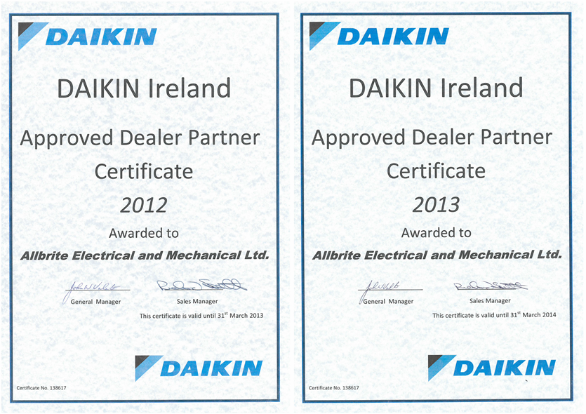 Daikin Dealer Certs