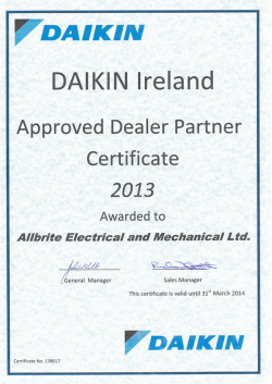 Daikin Ireland approved dealer certificate 2013