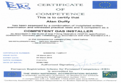 INAB certificate of competence gas installer