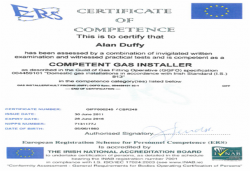 INAB certificate of competence gas installer 2