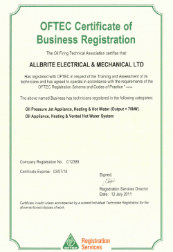 OFTEC certificate business